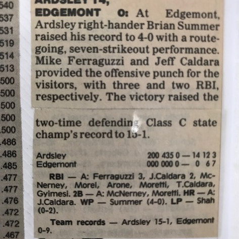Newspaper clipping after defeating Edgemont for 15th win of season.