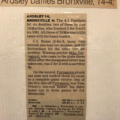 Newspaper clipping after beating Bronxville for 4th victory of the season.