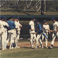 Captains receive plaques prior to the 1987 semi-final game at herkimer Community College.