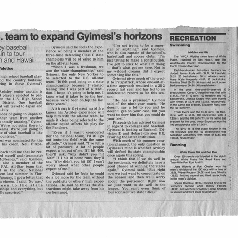 Newspaper clipping featuring Steve Gyimesi