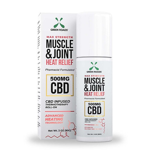 Green Roads Muscle and Joint Heat Relief 500mg Roll On