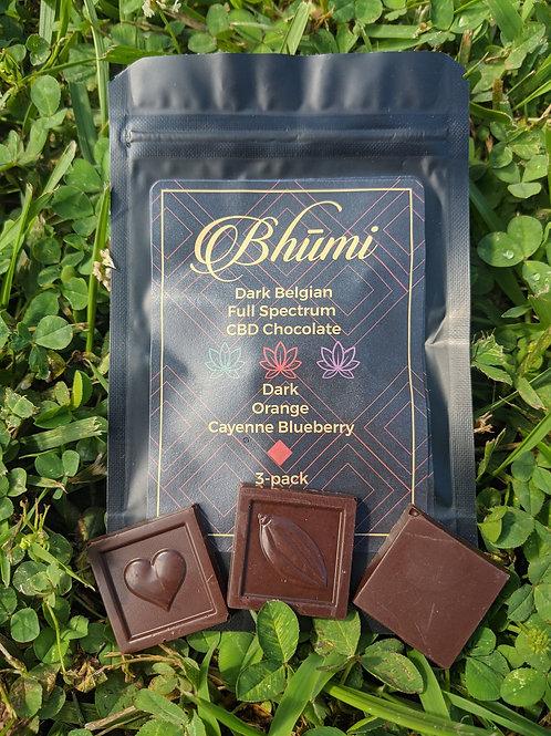Bhumi Chocolate 3-pack (20 mg each) CBD, Dark Belgian Chocolate