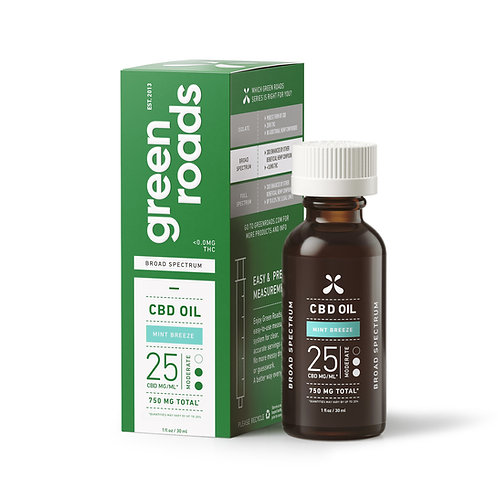 Green Roads Moderate CBD Oil - 750mg, Mint Breeze