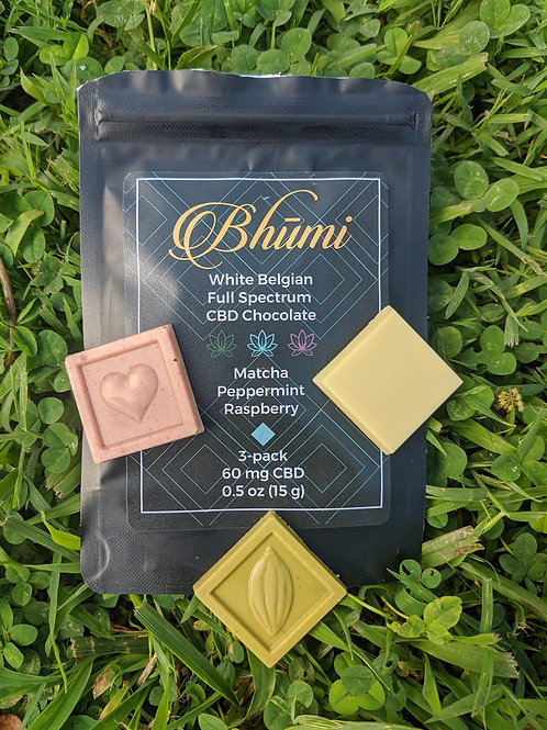 Bhumi Chocolate 3-pack (20 mg each) CBD, White Belgian Chocolate