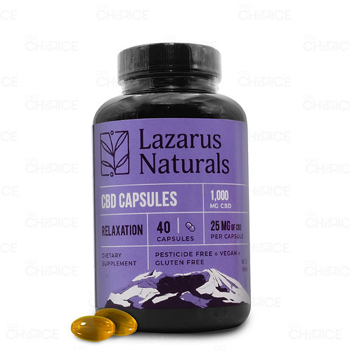 Lazarus Naturals 25mg Relaxation CBD Capsules - 40ct 1,000mg