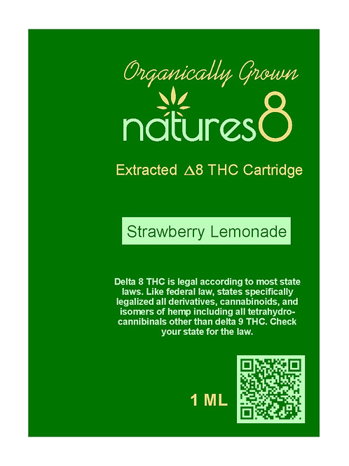 Natures 8 Delta 8 Vape Cartridge - 1000 mg, Strawberry Lemonade
