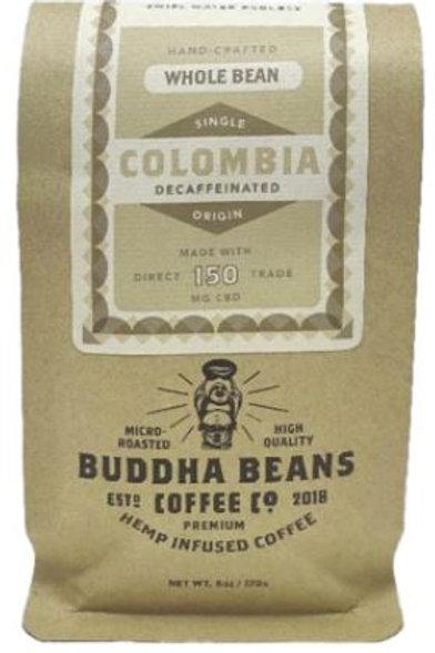Buddha Beans Whole Bean CBD Coffee 12 oz, Decaf Columbia