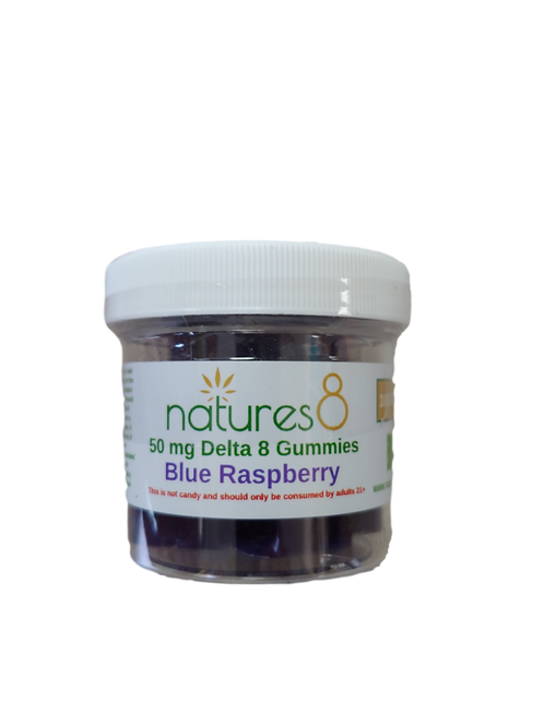 Nature's 8 Delta-8 Gummies (1000 mg), Blue Raspberry