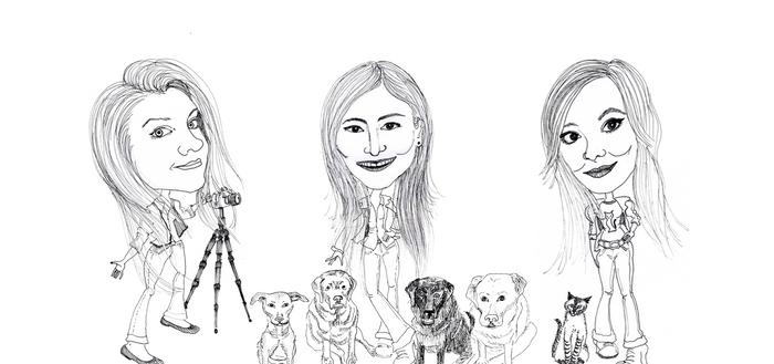 Caricatura - Aurora, Juliana e Fran