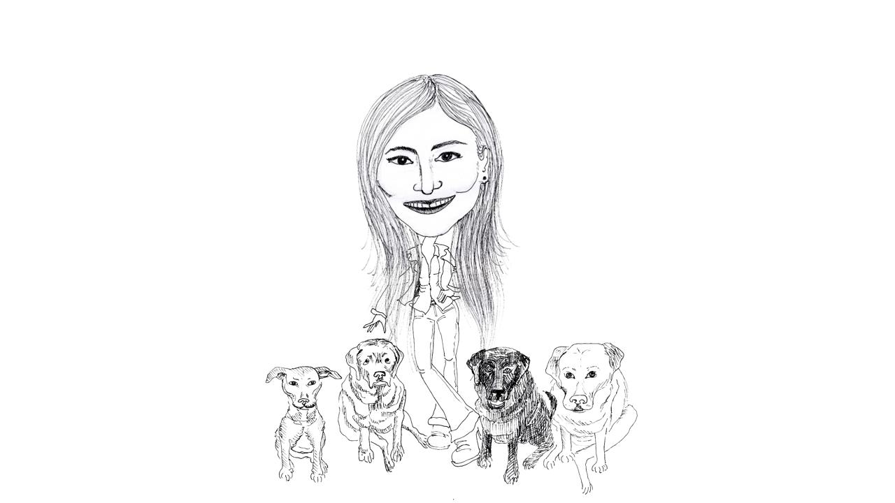 Caricatura - Juliana e Seus Cachorros