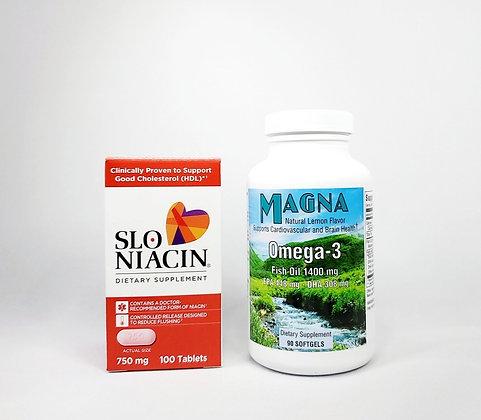 SLO-NIACIN 750 mg & MAGNA Omega-3 Bundle