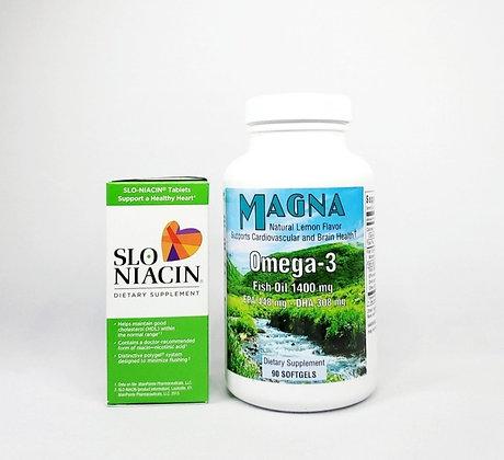 SLO-NIACIN 250 mg & MAGNA Omega- 3 Bundle