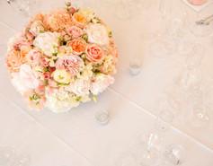 Peach and blush centerpiece