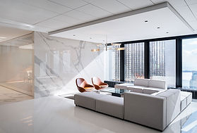 InstarAGF office seating area with statuario wall