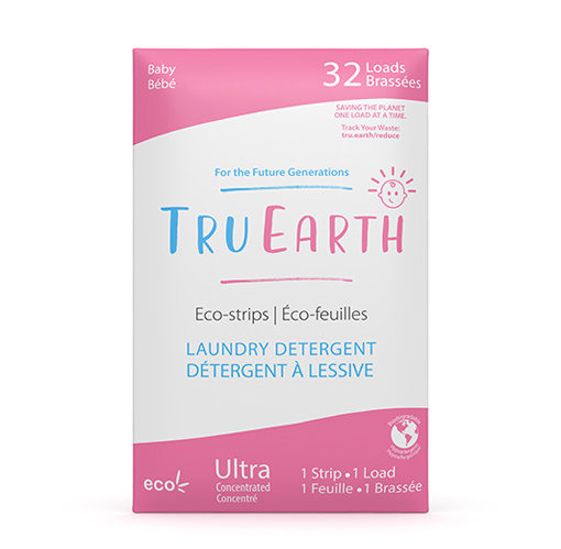 Tru Earth Baby Eco-Strips Laundry Detergent. 32 loads in green and white package.