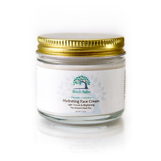 Birch Babe Organics Collection Plastic Free Hydrating Face Cream moisturizer light texture & brightening