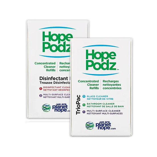 HopePodz plastic-free TrioPack and Disinfectant Kit for glass, bathrooms and multi-surface