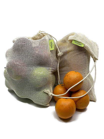Eco-friendly reusable and compostable Tru Earth cotton mesh produce bags with oranges