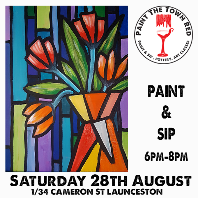 Saturday 28th August Paint and Sip 6pm-8pm $45