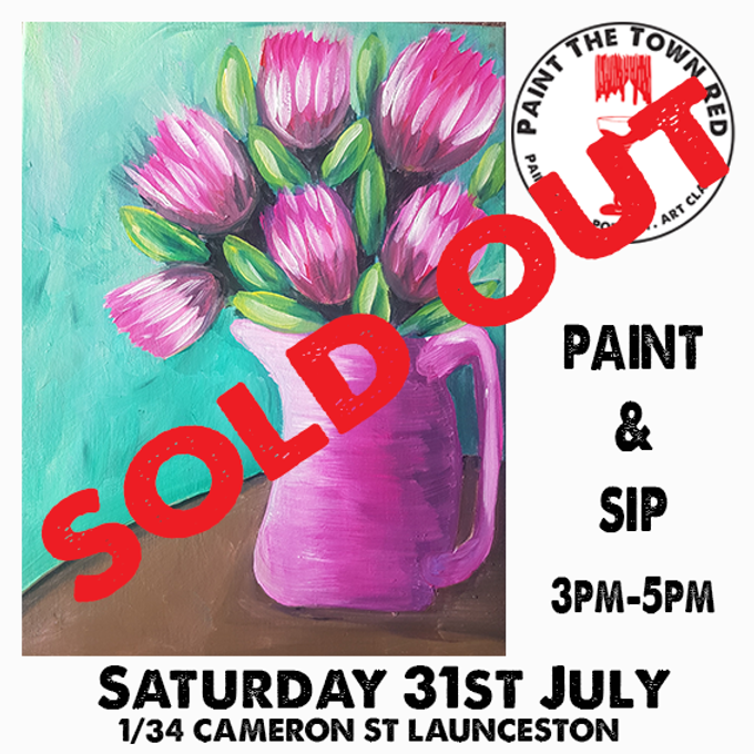 Saturday 31st July Paint and Sip 3pm-5pm $45