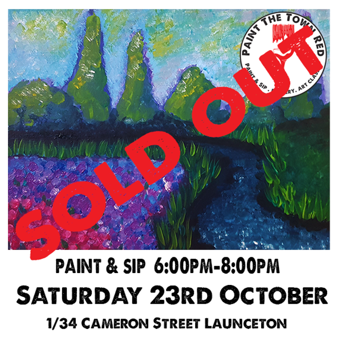 Saturday 23rd October Paint and Sip 6pm-8pm $45