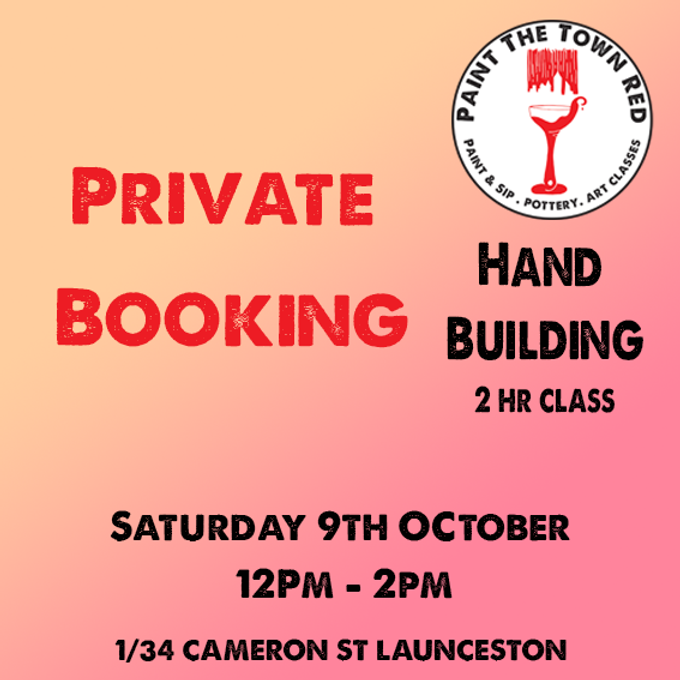 Private Event Saturday 9th October Hand Building session 12 to 2