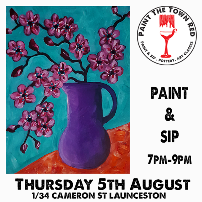 Thursday 5th August Paint and Sip 7pm-9pm $45