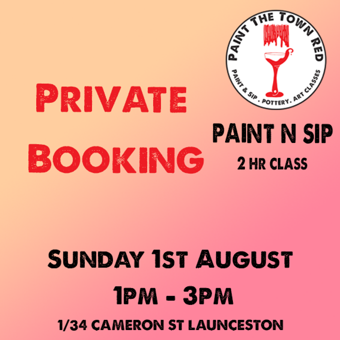 Private Event Sunday 1st August Paint session 1 to 3