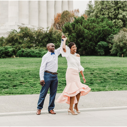 Lincoln Memorial Engagement // Natana + Adenrele // Washington DC Portraits