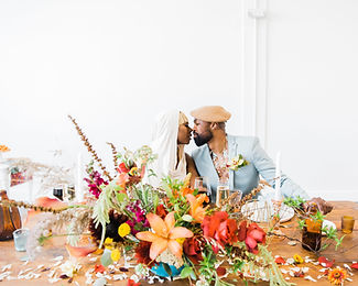 Black Loves Matter style shoot colorful centerpiece Haven Street Ballroom Baltimore