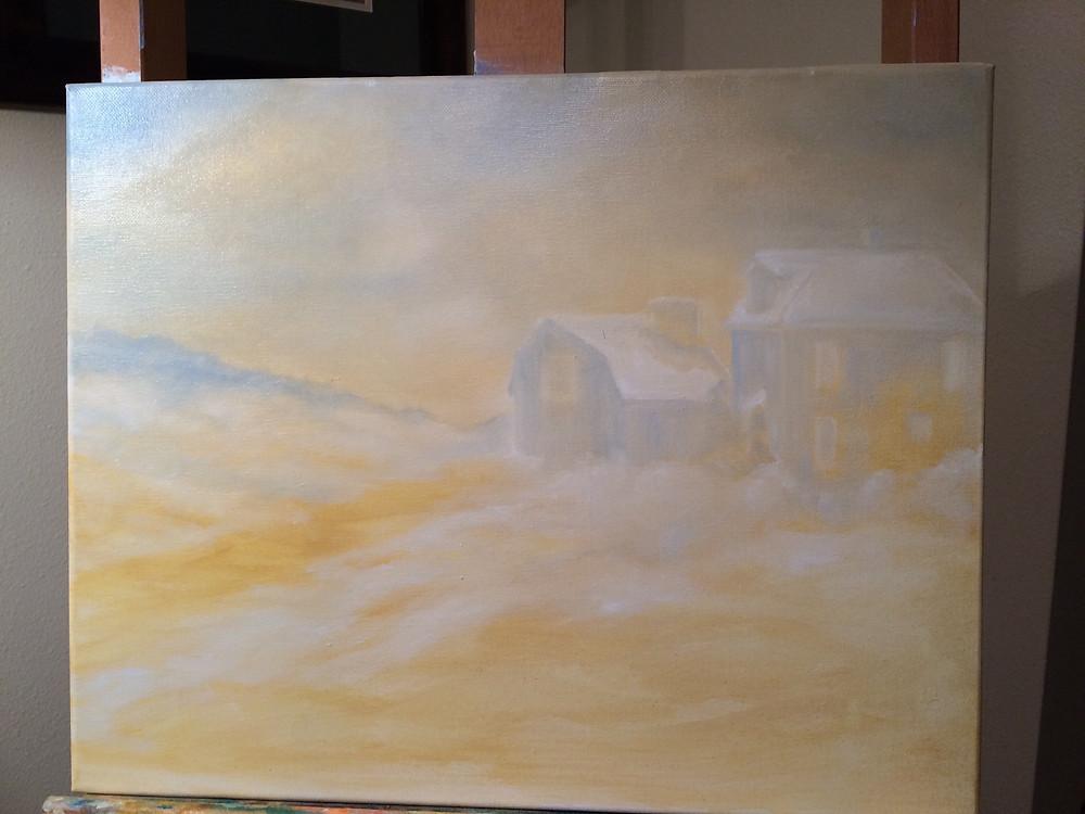 The beginning of Bradley Farm painting