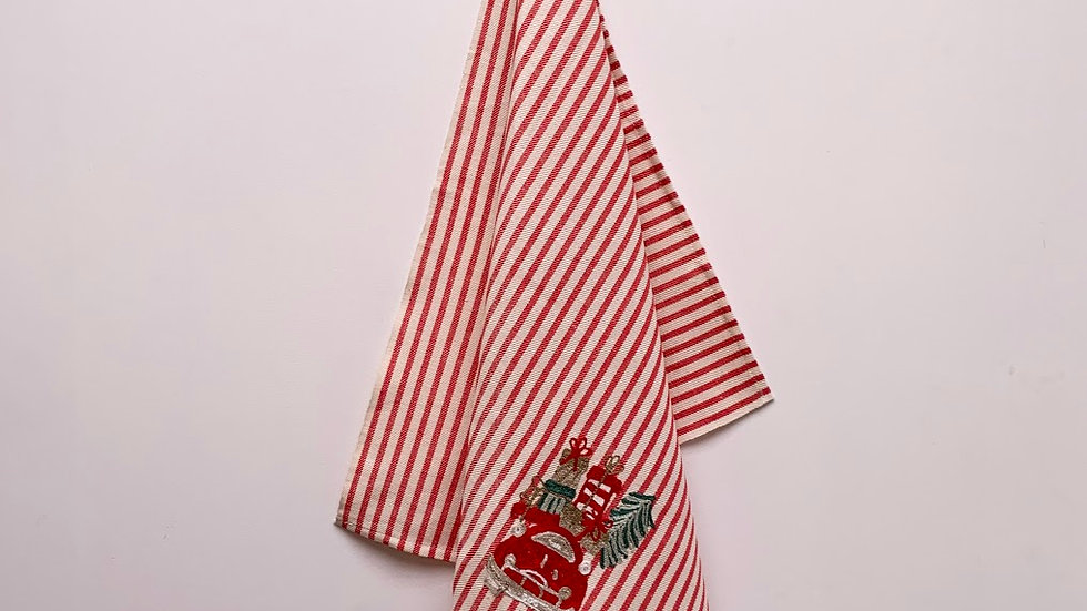 Holiday embroidered kitchen towel