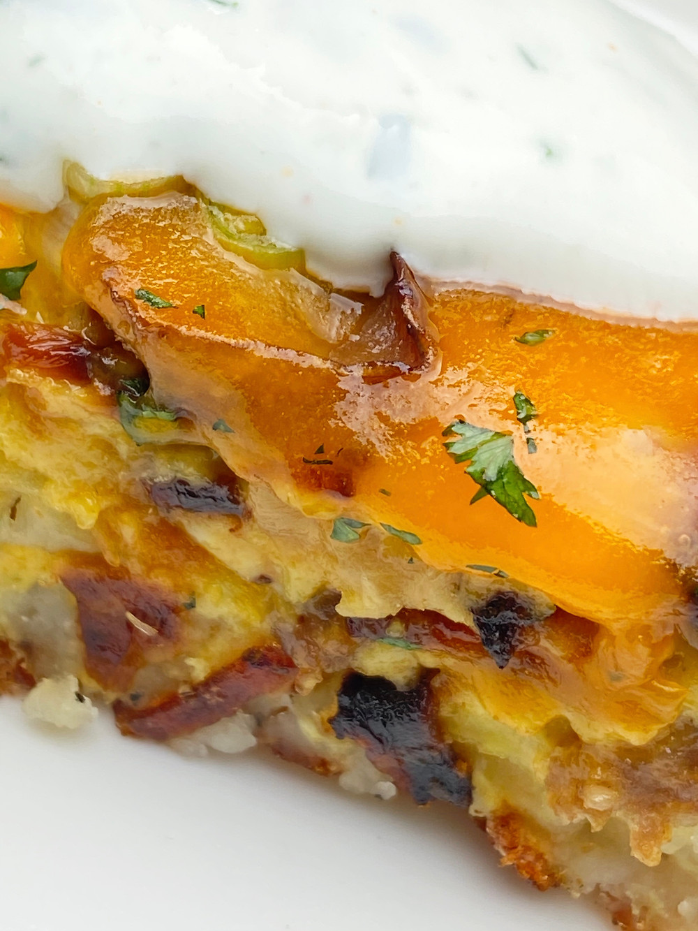 Close-up of Sausage and Mushroom Quiche with Potato Crust