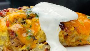 Sausage and Mushroom Quiche with Potato Crust and Lime-Cilantro Crema