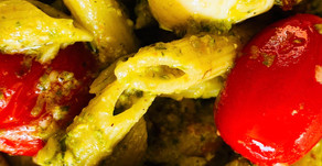 Pesto Penne with Mozzarella and Blistered Tomatoes