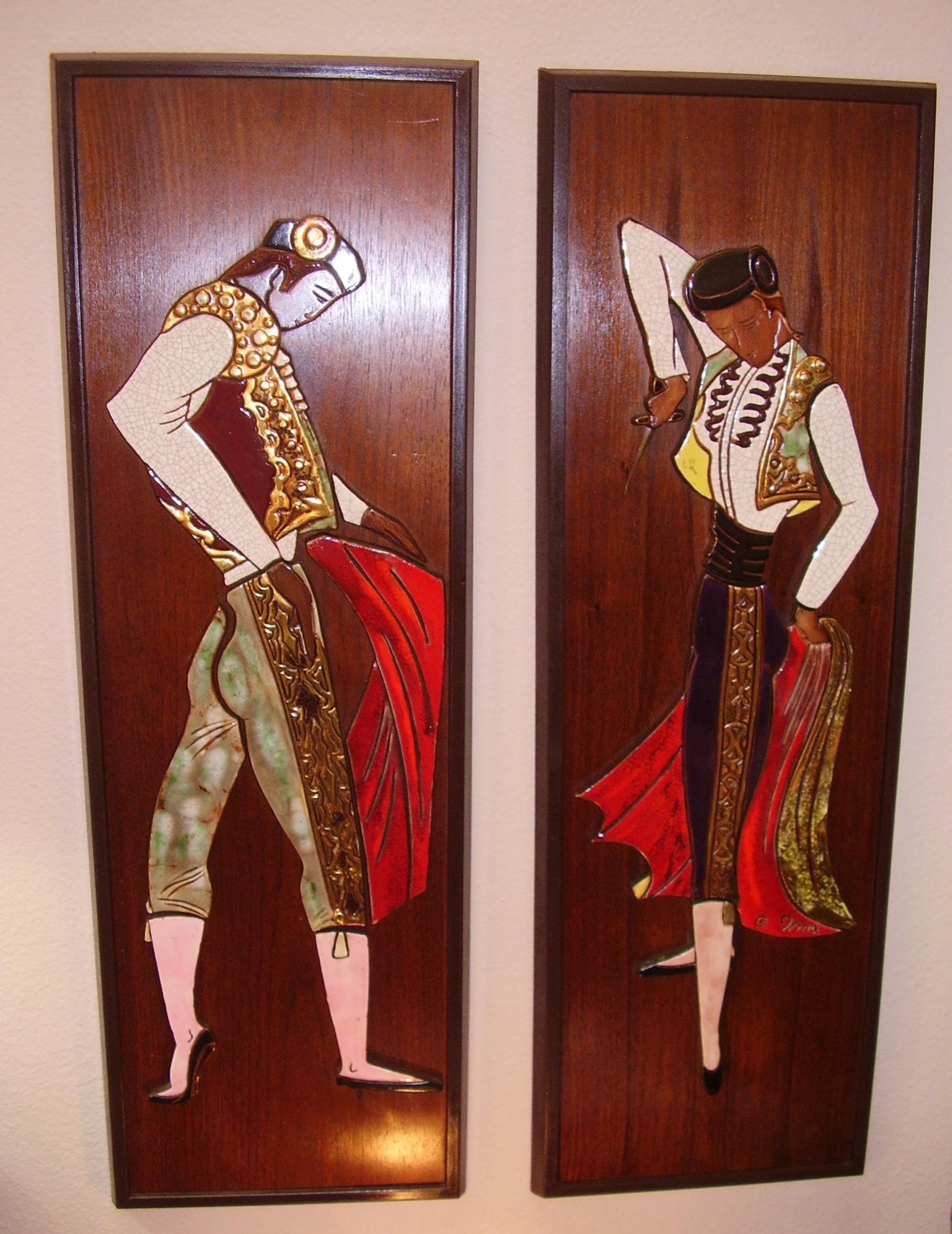 Framed Bullfighters Mid Century Modern