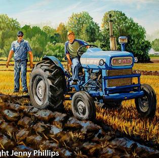 Coach Dad & Plowman Son - Ford Tractor