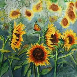 Sunflowers & Monarch
