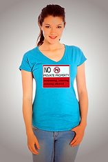 Girl in no private property shirt image