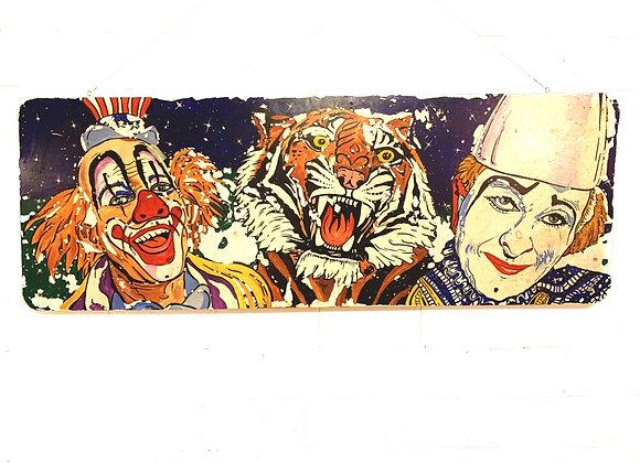 Handgeschilderd kleurrijk circustafereel