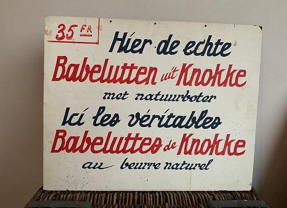 Vintage ijskar reclamebord 'Babelutten'