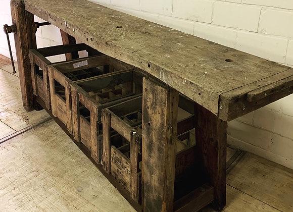 Antieke eiken timmermanswerkbank