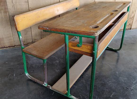 Vintage school bench (green)