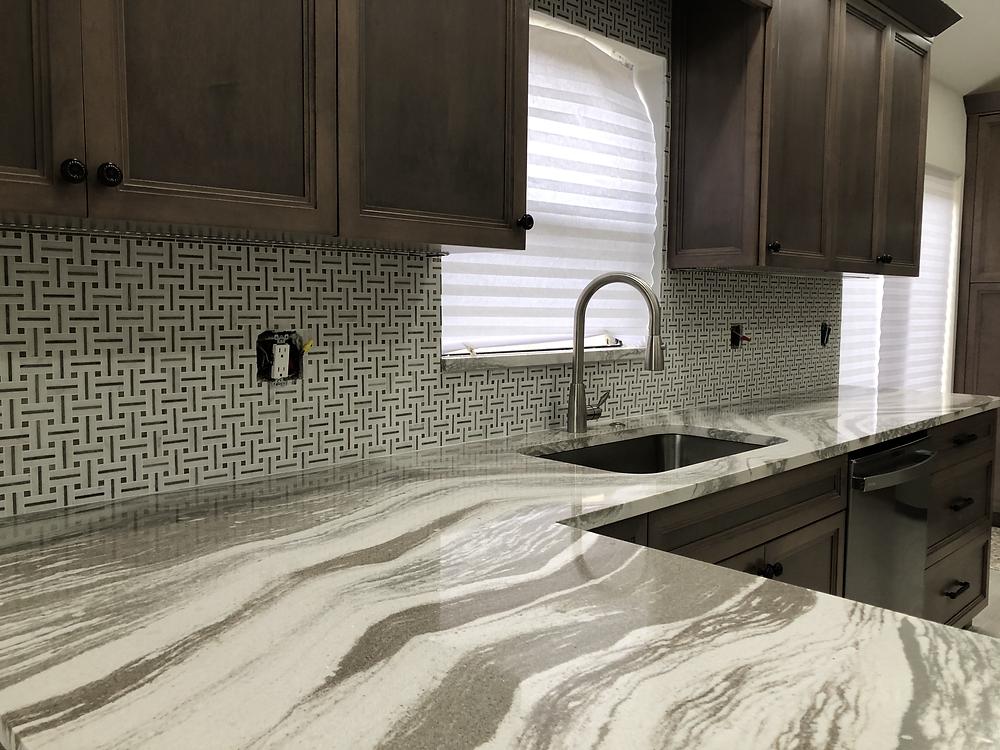 Best Backsplash for Cambria Oakmoor Luxury countertops. Contact Stone and Quartz LLC Countertops and Backsplash experts and installer Boca Raton FL