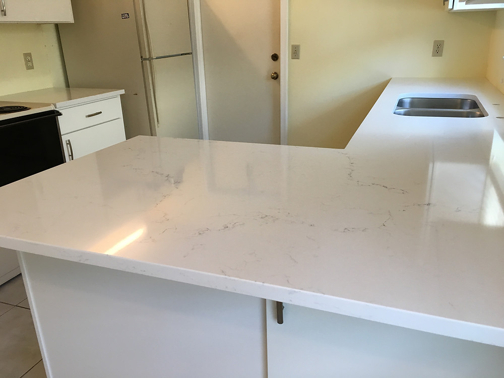 Pompeii Misterio quartz countertops installation in Boca Raton FL. Stone and Quartz LLC
