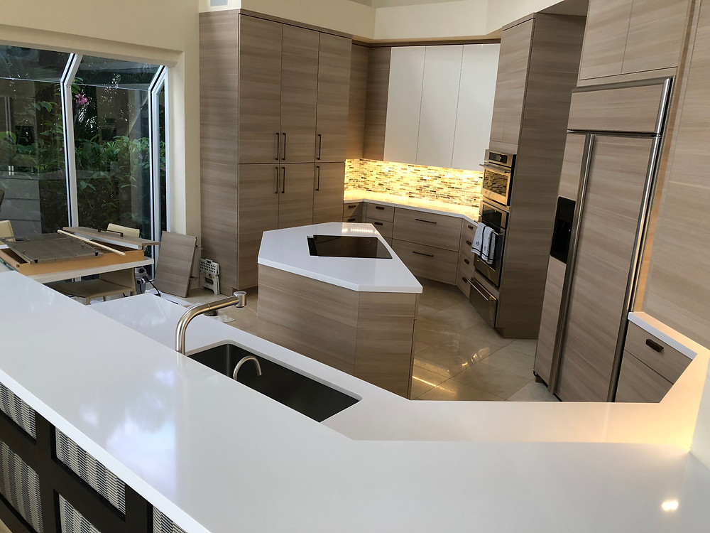 Iconic White is one of the whites quartz countertops; Contact us Stone and Quartz LLC Boca Raton FL
