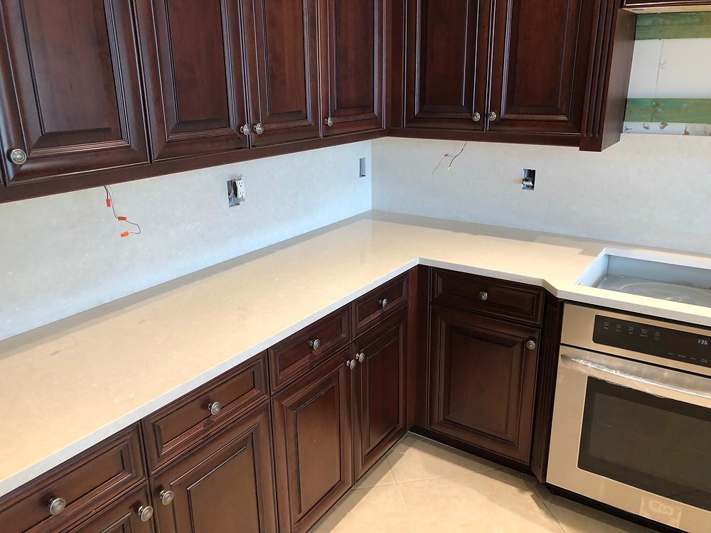 Cambria Quartz Countertops in Boca Raton FL. This kitchen countertops we installed in Boca Raton FL. Contact Stone and Quartz LLC.