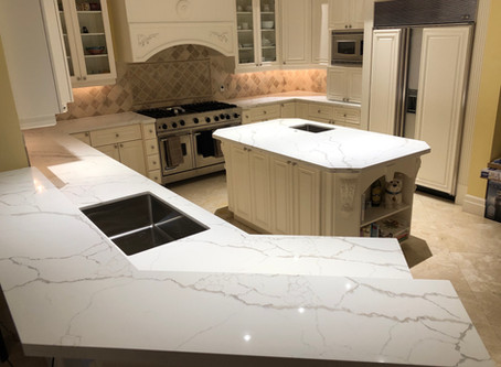 How do Calacatta Laza Quartz countertops look like installed?