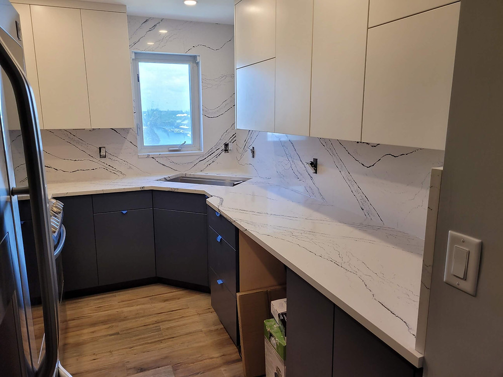 Cabria Portrush countertops installed Boca Raton FL. Stone and Quartz LLC