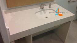 Mitered edge white vanity top